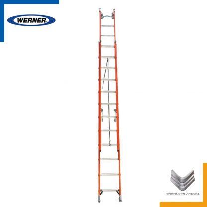 Escalera Werner de fibra de vidrio, modelo D6228-2MXX0103; Inoxidables Victoria